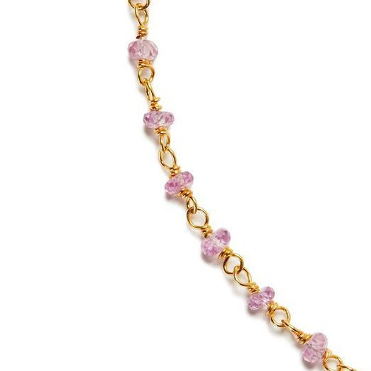 14k Vermeil Petit Faceted Pink Sapphire Gemstone Necklace