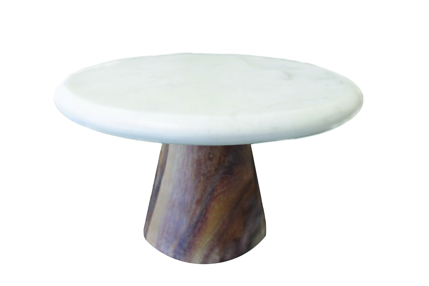 Small White Marble and Wood Cake Platter
