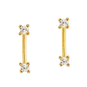 Tai Stick Drop Earrings with Two CZ's