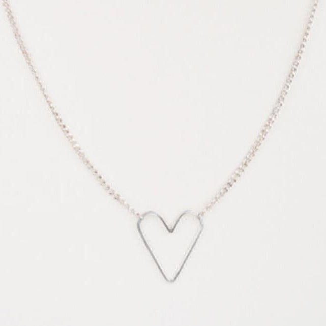 Jane Hollinger Sweetie Floating Silver Heart Necklace