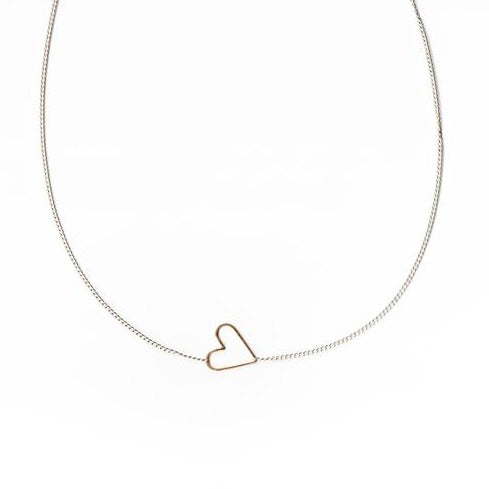 Jane Hollinger Sweetie Floating Heart Necklace Silver / Gold