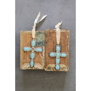 Turquoise Cross Ornament - Rectangular