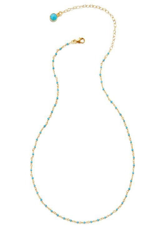 14k Vermeil Petit Faceted Turquoise Gemstone Necklace