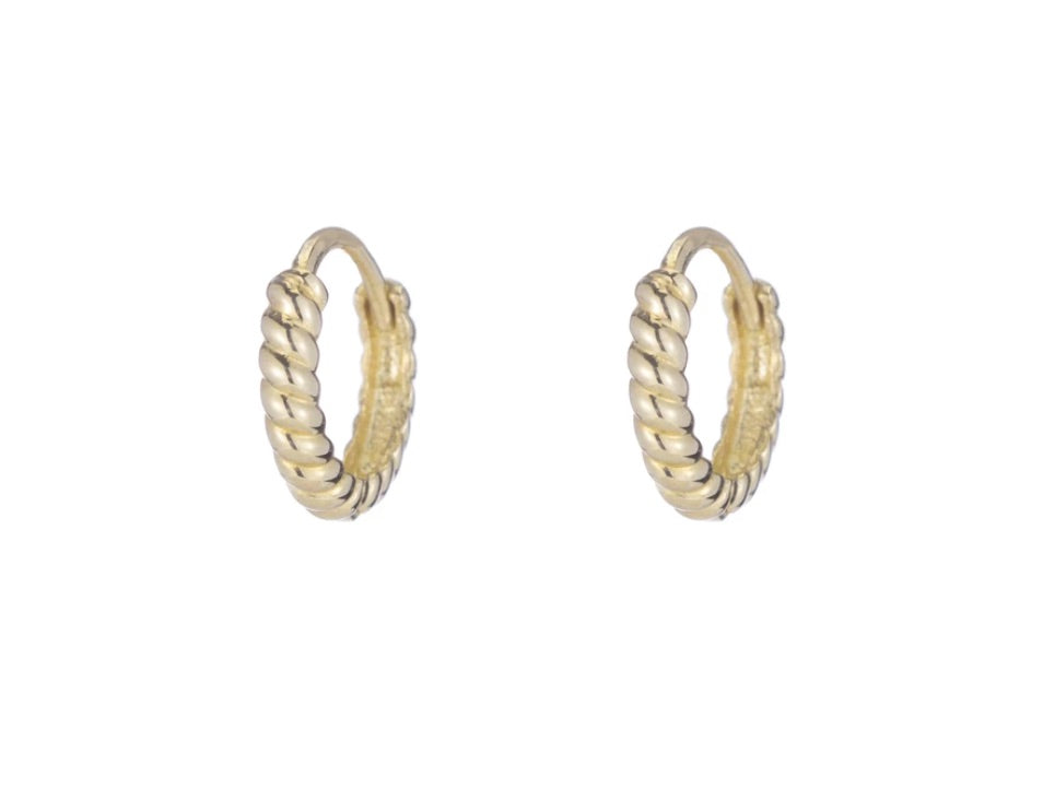 Ariel Gordon Twisted Petit Hoops Solid 14k