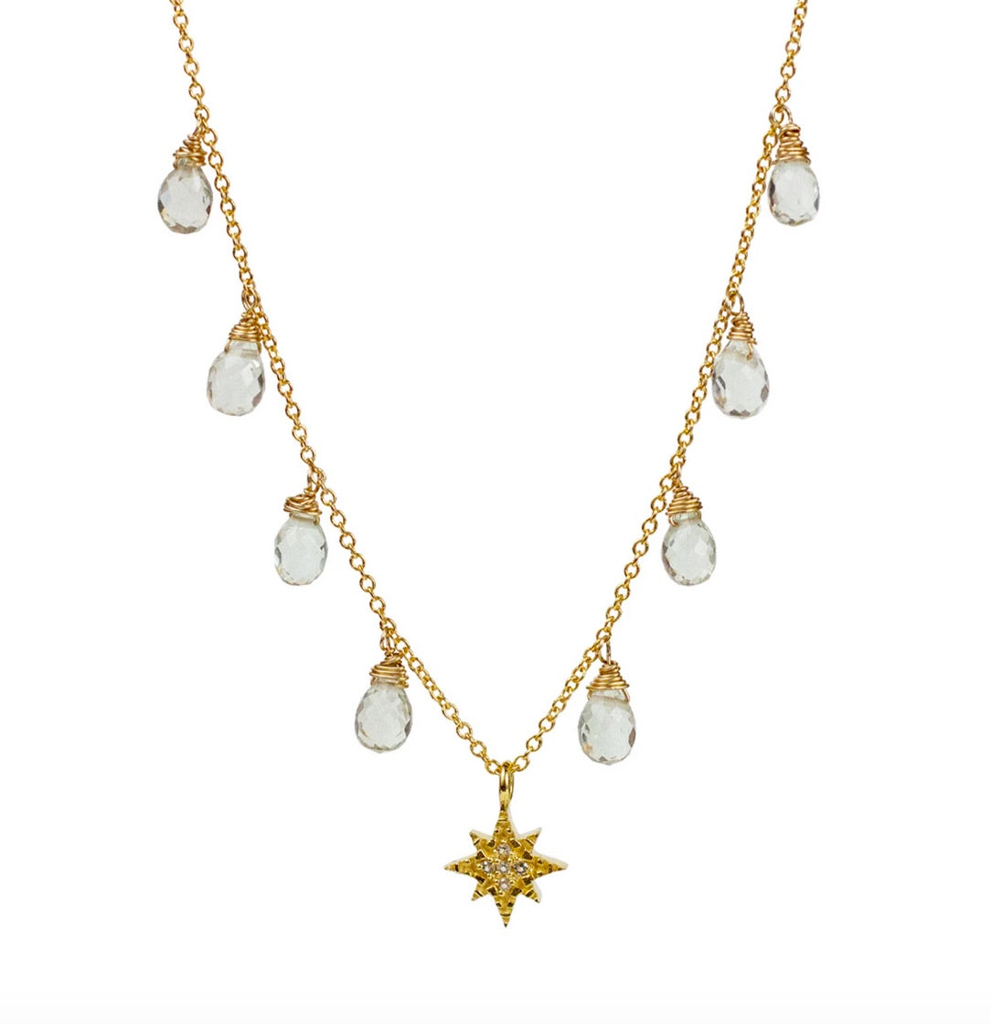 Lulu 14K Gold Fill Ursa Necklace (Green Amethyst)
