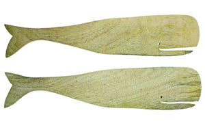 Mango Wood Whale Salad Servers