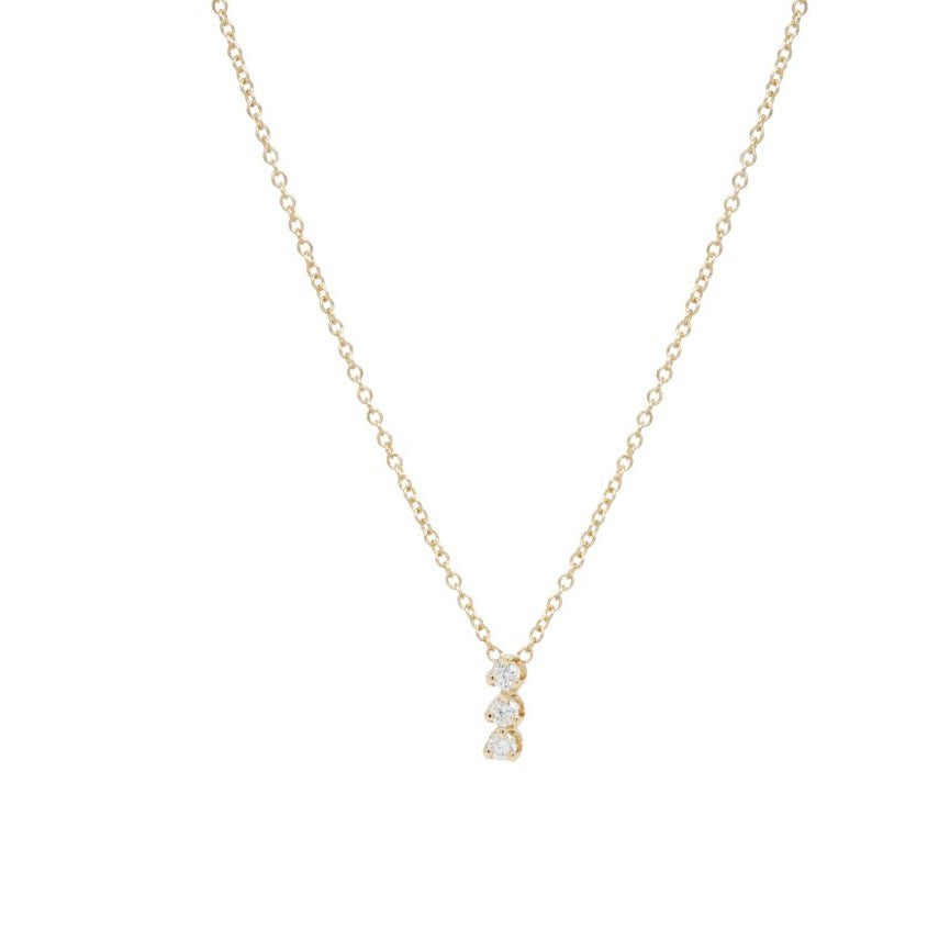 Zoe Chicco 14K Gold 3 Vertical Prong Diamond Necklace