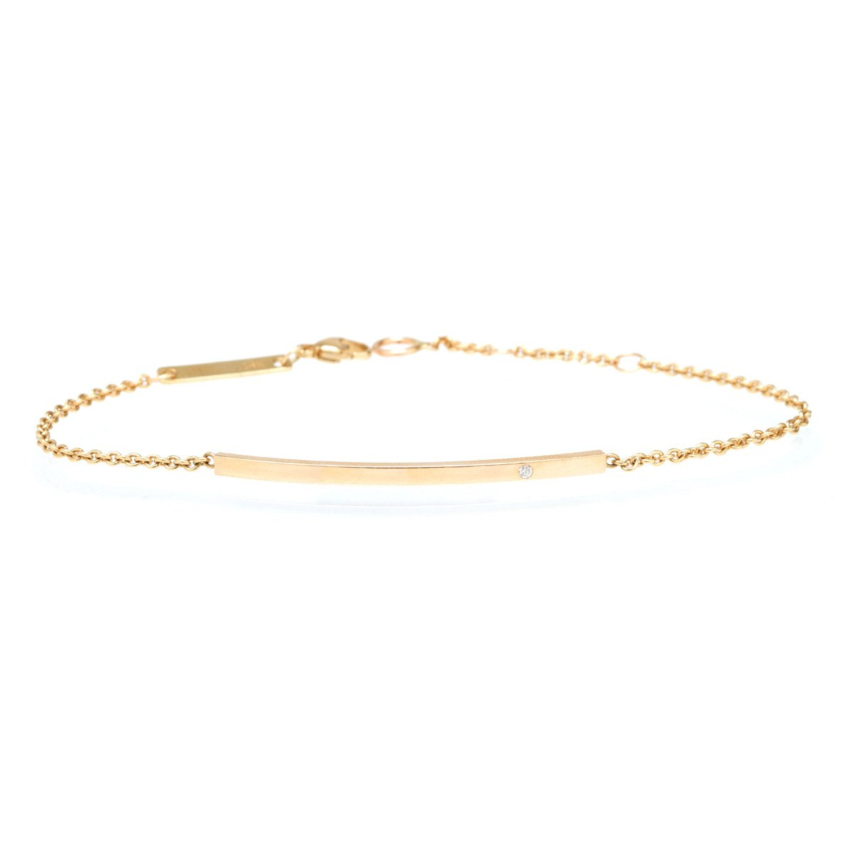 Zoe Chicco 14K Gold Curved Bar Diamond Bracelet