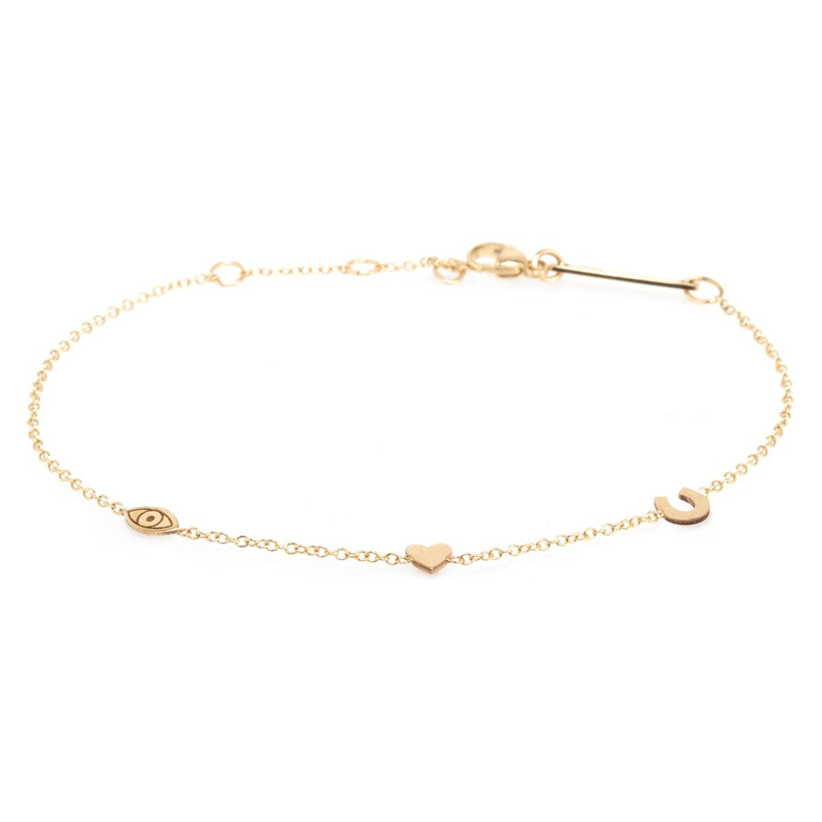 "Zoe Chicco 14K Gold  Itty Bitty ""Eye Heart U"" Bracelet"