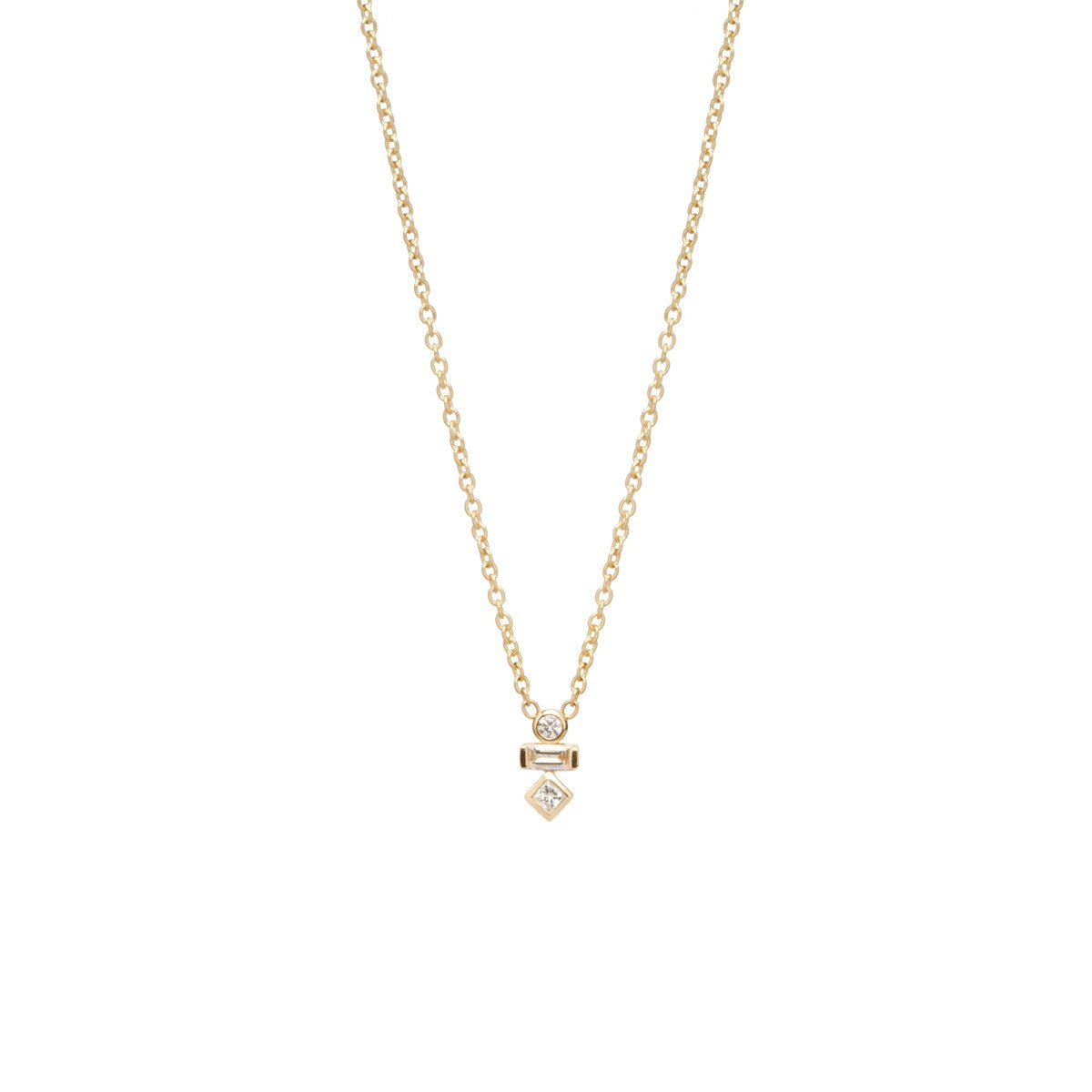 Zoe Chicco 14K Gold Mixed Diamond Necklace