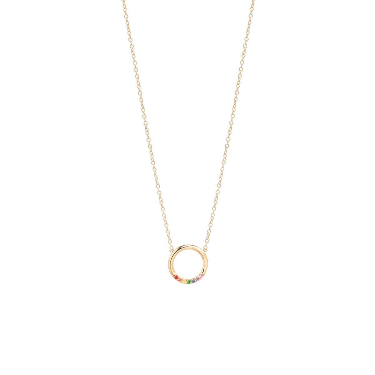 Zoe Chicco 14K Gold Thick Circle Necklace With 7 Rainbow Sapphires