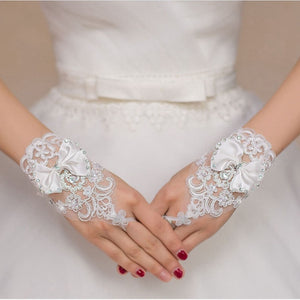Lace Bow Tie Wedding Gloves