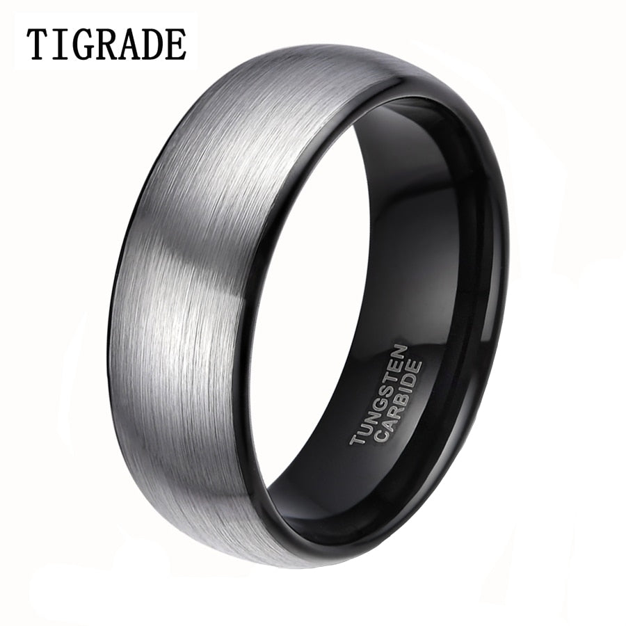 Men's Wedding Ring - 8mm Classic Brushed Tungsten Carbide