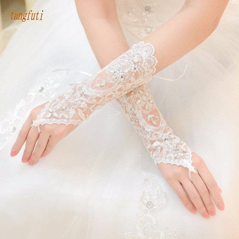 Ivory White Fingerless Sequin Wedding Gloves