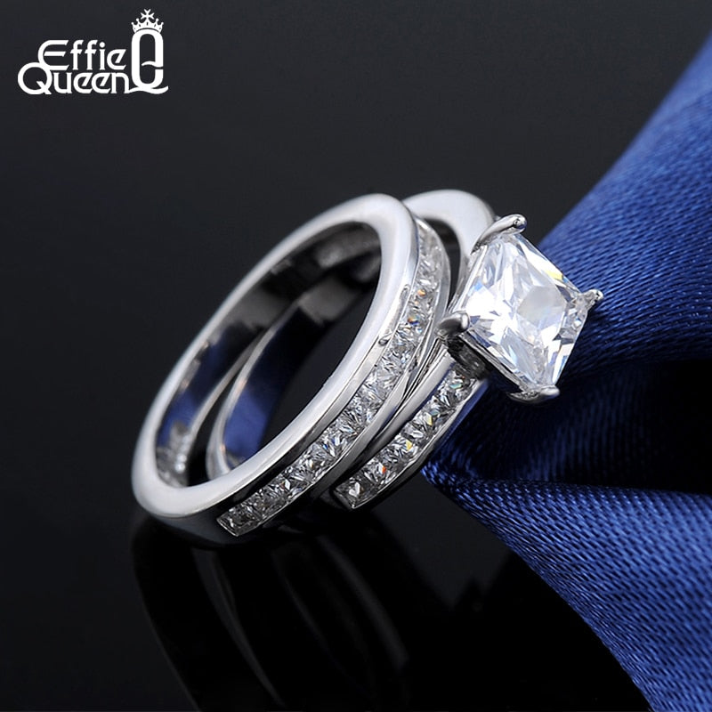 Effie Queen 2 Piece Wedding Ring Set