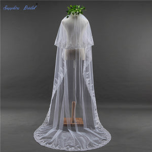 White Ivory Lace Wedding Veil With Comb