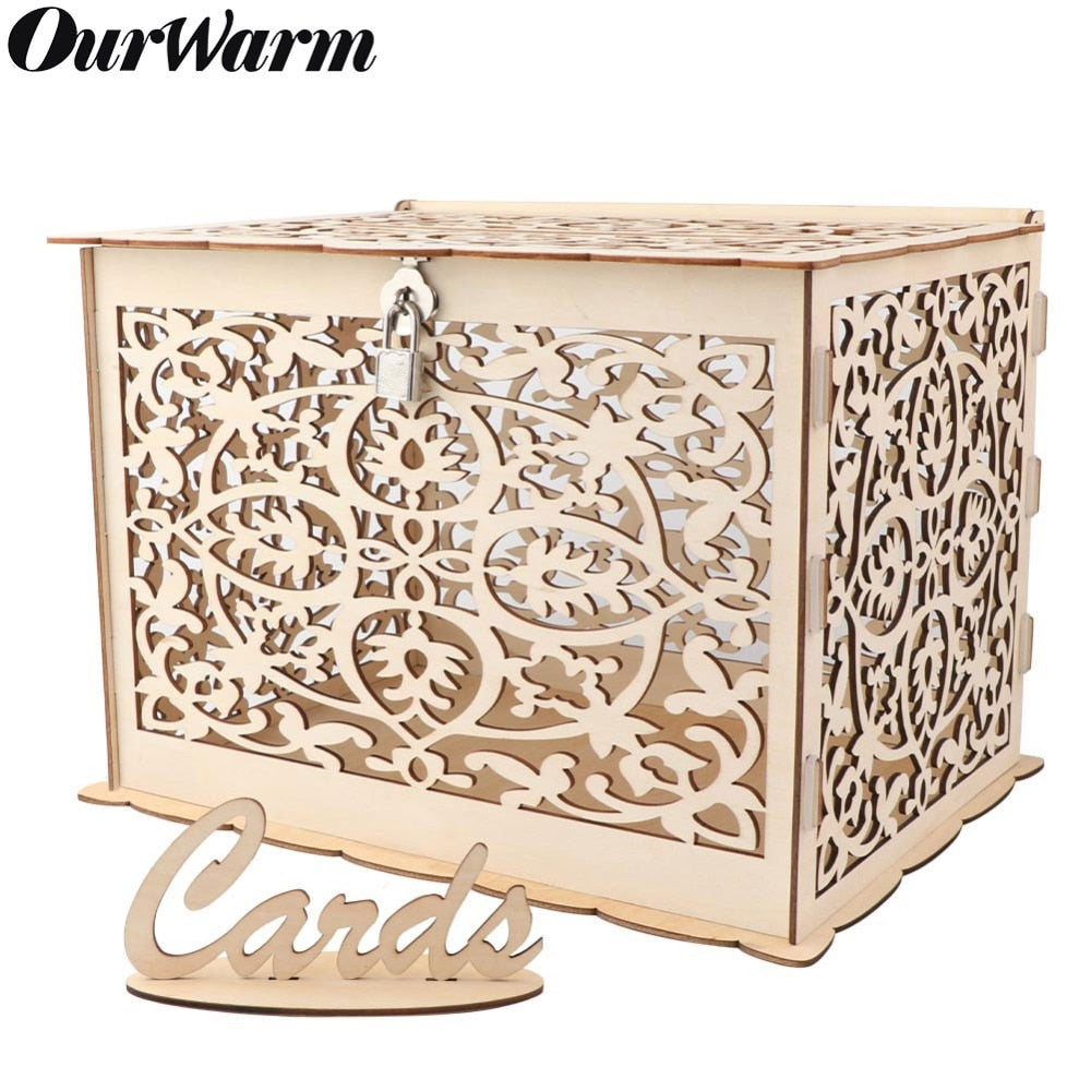 Wooden Wedding Gift Card Box with Lock