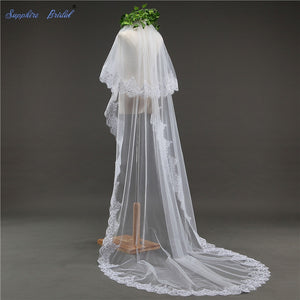 Sapphire 2 Layer Lace Bridal Wedding Veil with Comb