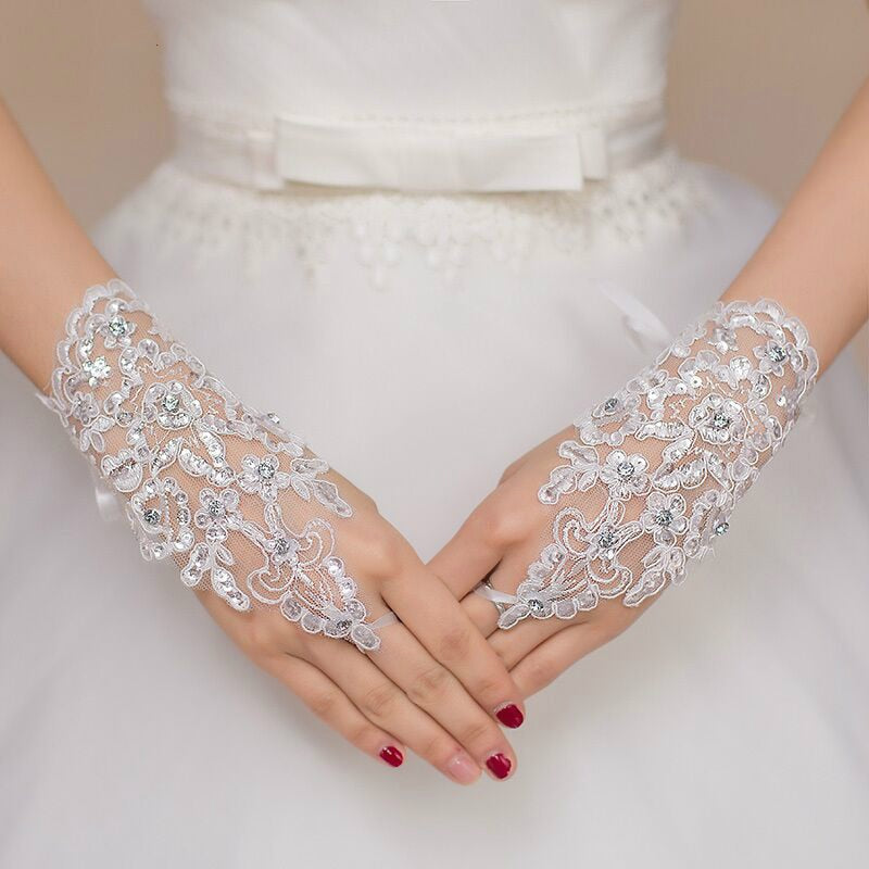 White or Ivory Short Fingerless  Bridal Gloves