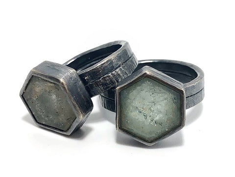 His & Hers Aquamarine engagement ring.  Handmade and magically crafted by Alex Lozier Jewelry.