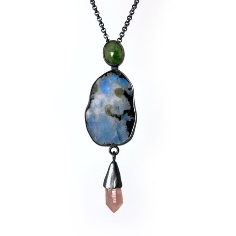 emerald moonstone pink amethyst Magical Talisman necklace. Handmade by Alex Lozier Jewelry