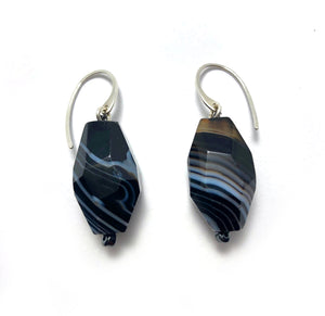 black and white striped agate stone earrings on sterling silver ear wire