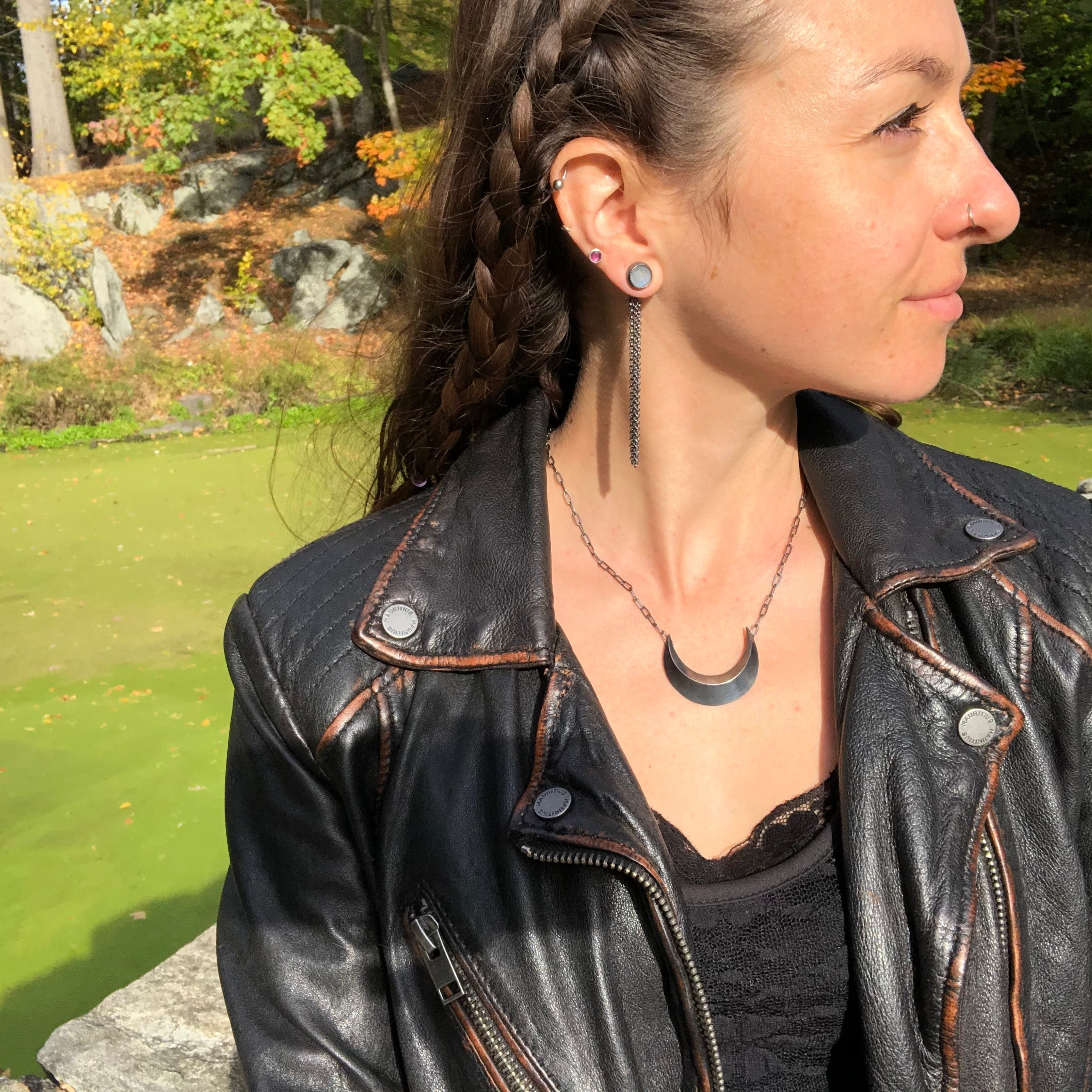 Oxidized sterling silver Crescent Moon Necklace.  Handmade by Alex Lozier Jewelry.  Season of the Witch collection.
