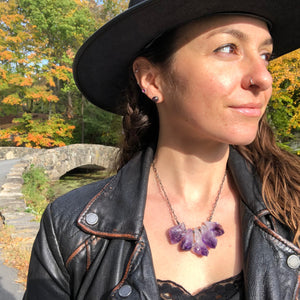 Amethyst Crystal Point Necklace. Handmade by Alex Lozier Jewelry. Season of the Witch collection.