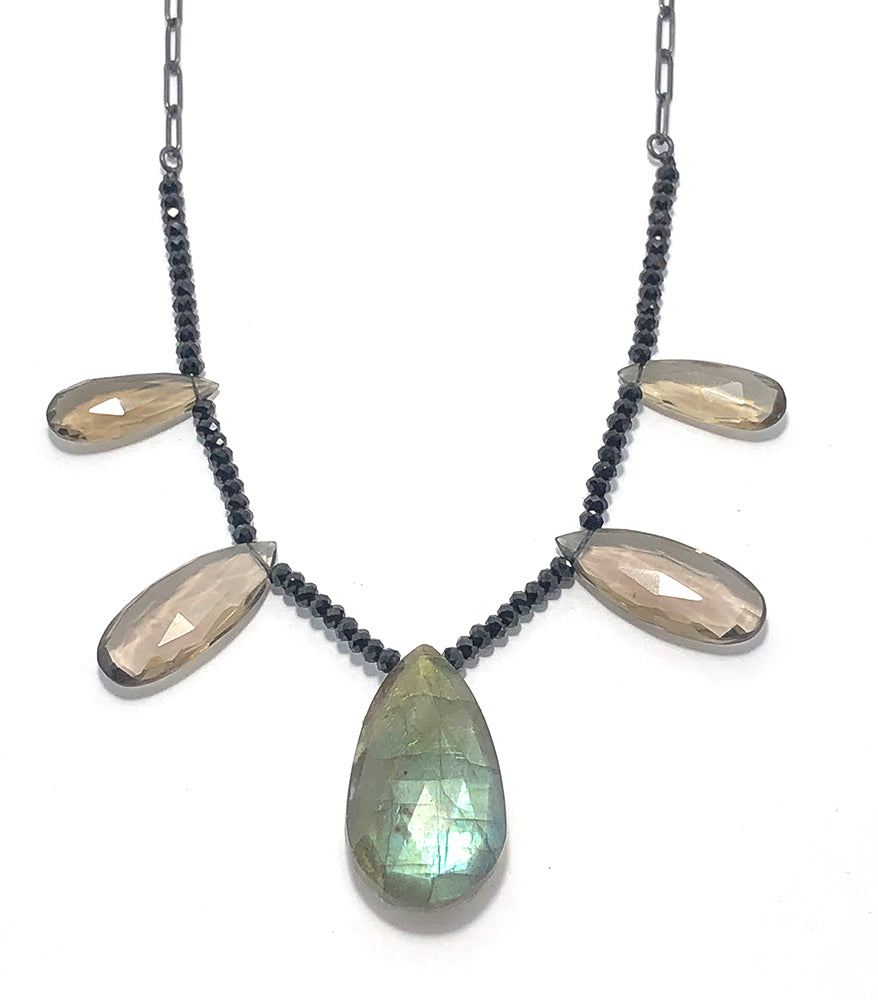 Labradorite + Smoky Quartz Drop Necklace