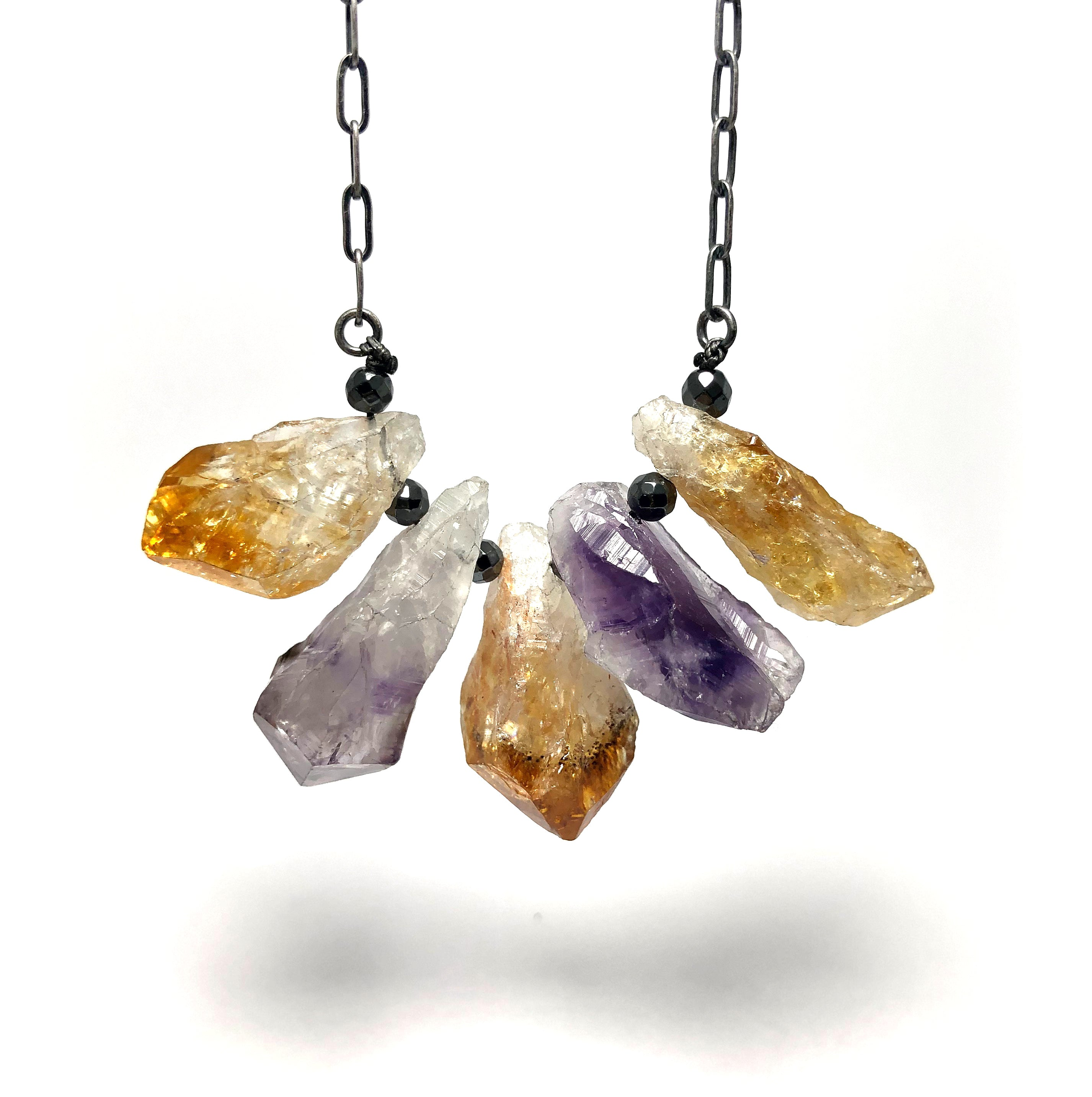 Amethyst + Citrine Point Necklace