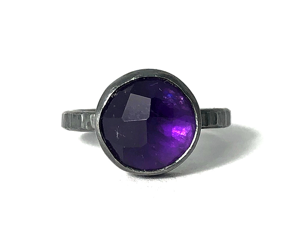 Amethyst Amulet Ring.  Handmade by Alex Lozier Jewelry.  Season of the Witch collection.