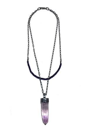 Amethyst Crystal Magical Talisman Necklace. Handmade by Alex Lozier Jewelry. Season of the Witch collection.