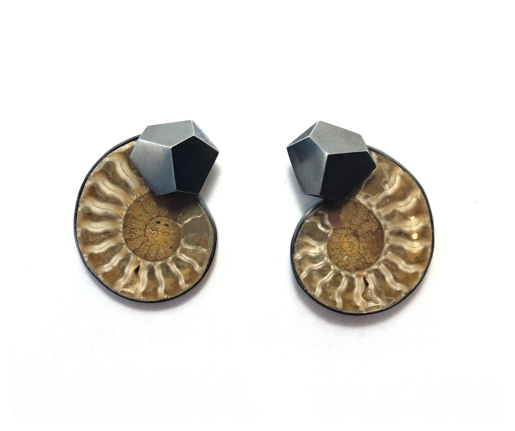 Ammonite earrings with hexagon shaped, hollow formed sterling silver metal elements