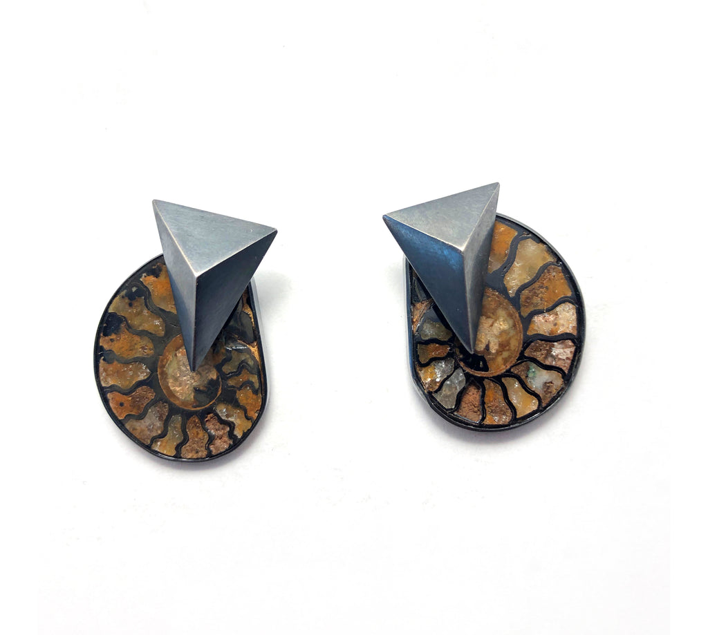 Ammonite earrings with triangle shaped hollow formed oxidized sterling silver elements