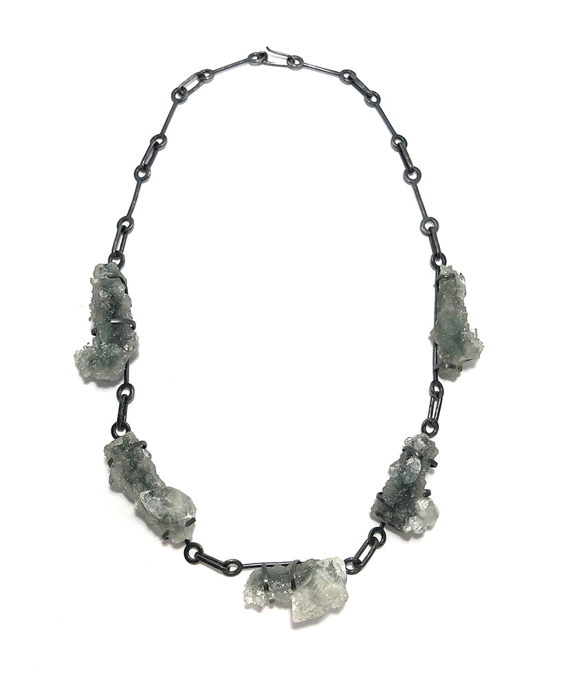 Apophyllite + Druzy Chalcedony Statement Necklace