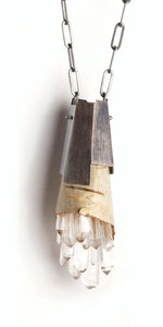 Birch bark, quartz crystals and faceted oxidized sterling silver pendant