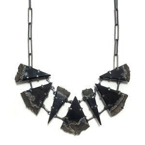 Obsidian slab necklace on handmade chain