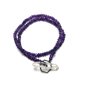 Crystal clasp bracelet on amethyst beads