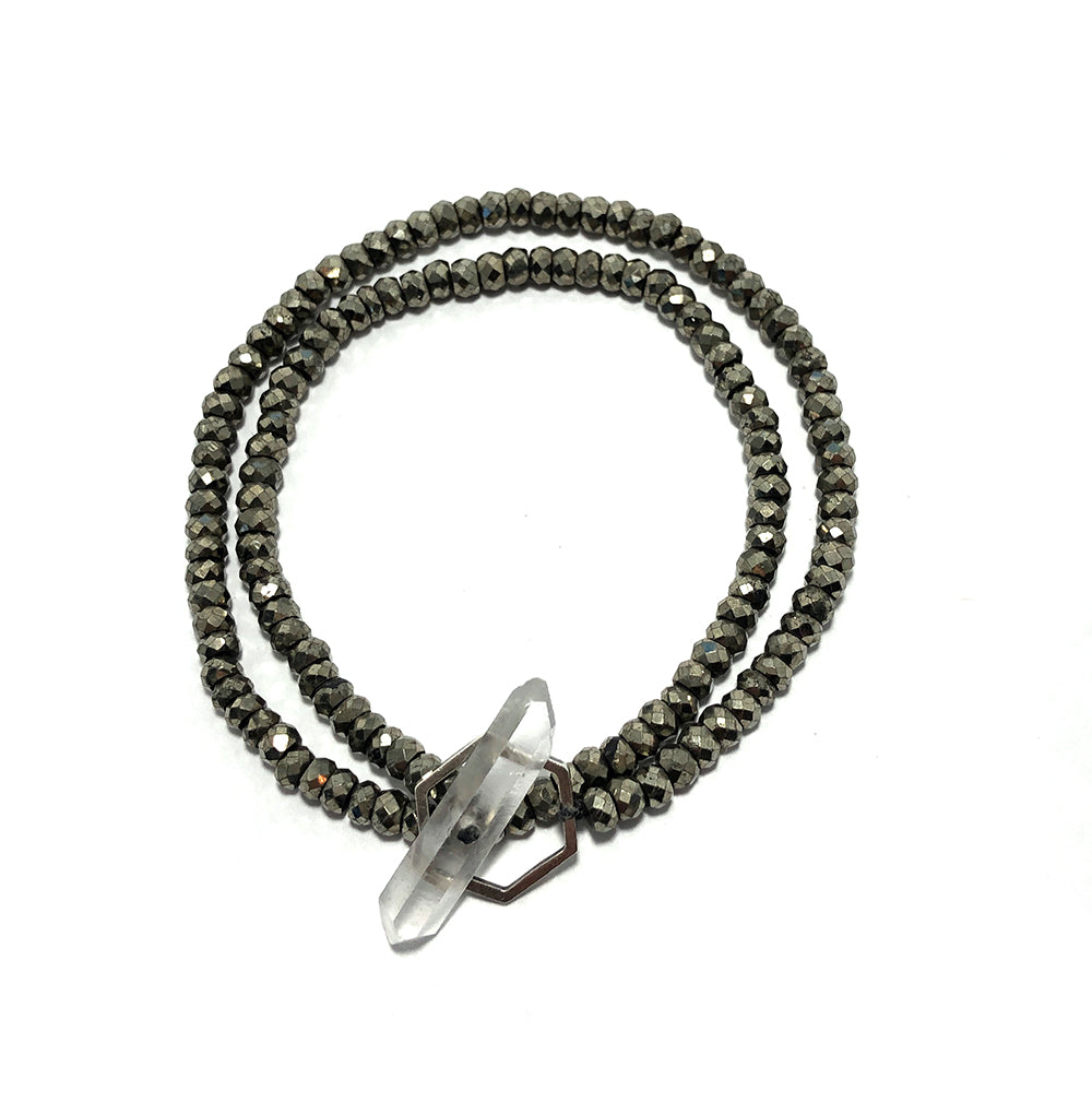 Crystal clasp bracelet on pyrite beads
