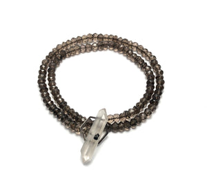Crystal clasp bracelet on smoky quartz beads