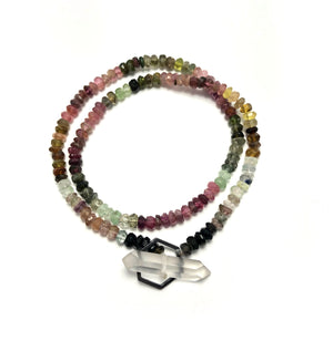 Crystal clasp bracelet on tourmaline beads