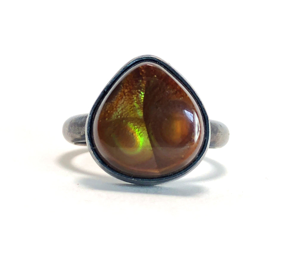Fire Agate Ring.  Hand Made by Alex Lozier Jewelry.