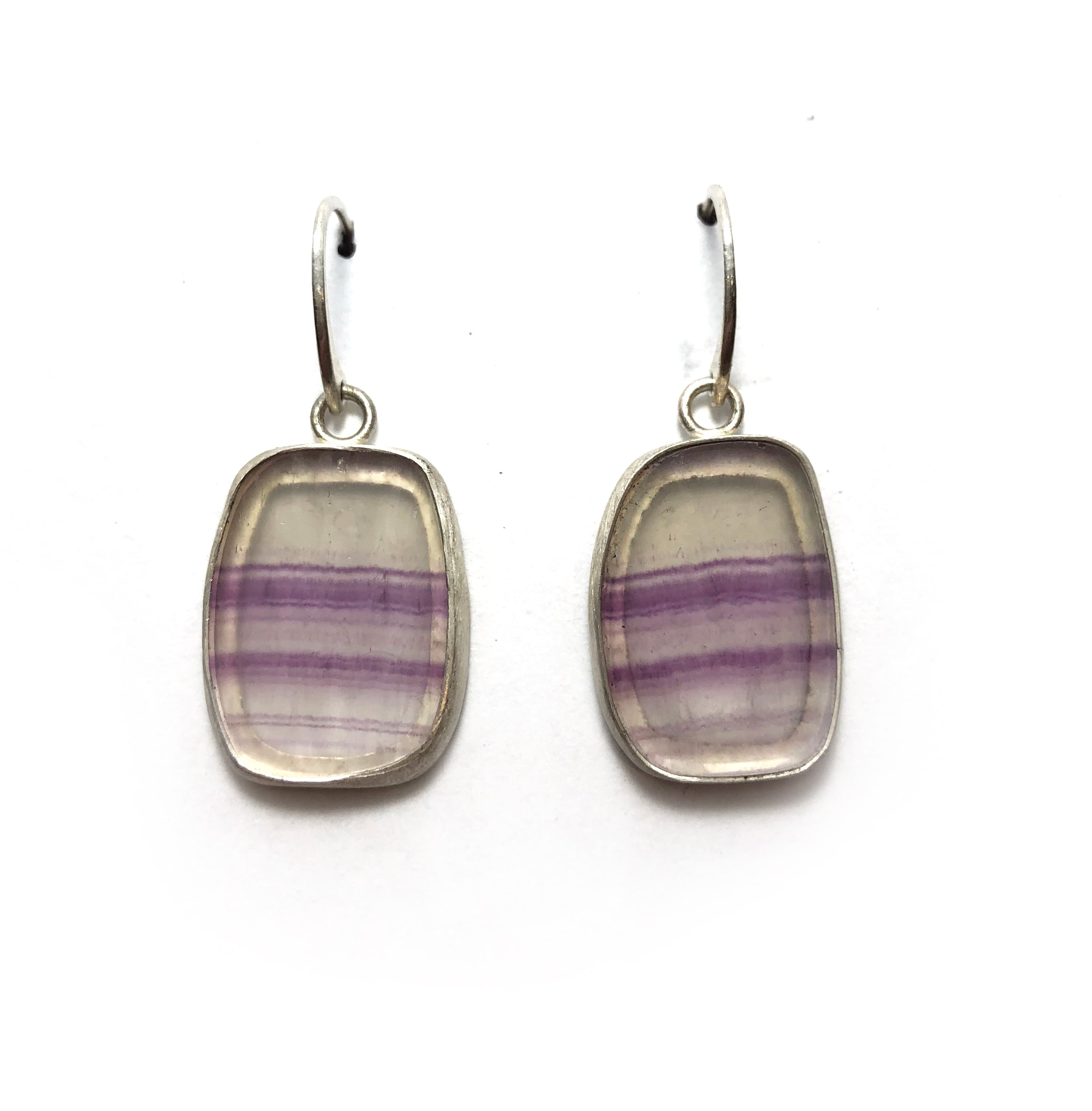 Fluorite slice earrings set in sterling silver
