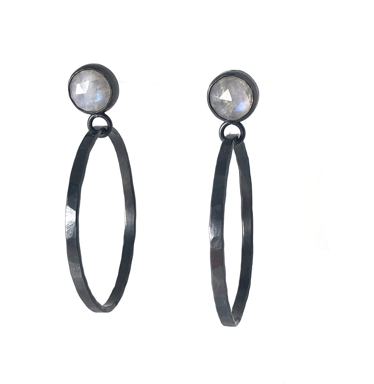 Rainbow Moonstone Hoop Earrings set in oxidized sterling silver.  Handmade by Alex Lozier Jewelry. Season of the Witch collection.