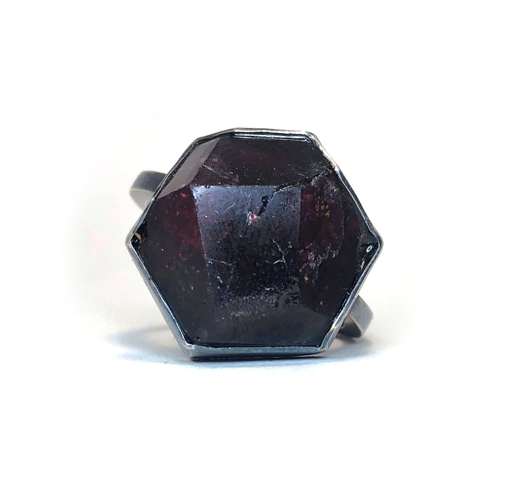 Geometric Garnet Ring.  Handmade by Alex Lozier Jewelry.