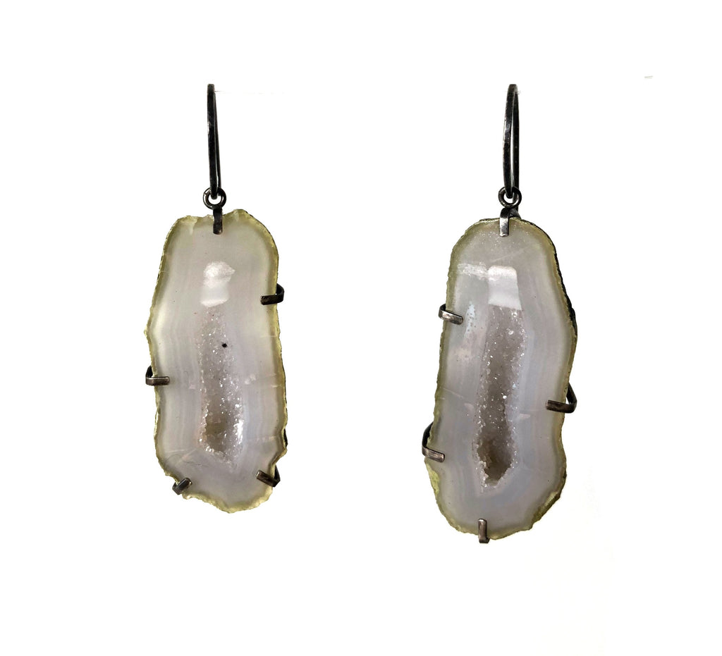 Agate Geode earrings handmade by Alex Lozier Jewelry