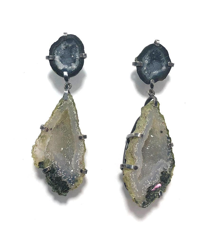 Double Druzy Geode Earrings