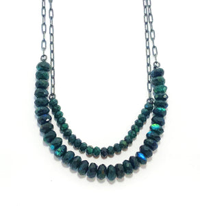Green Labradorite Beads + Chains