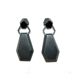 Geometric hexagon shaped post earrings.  Hollow form construction.  Oxidized sterling silver