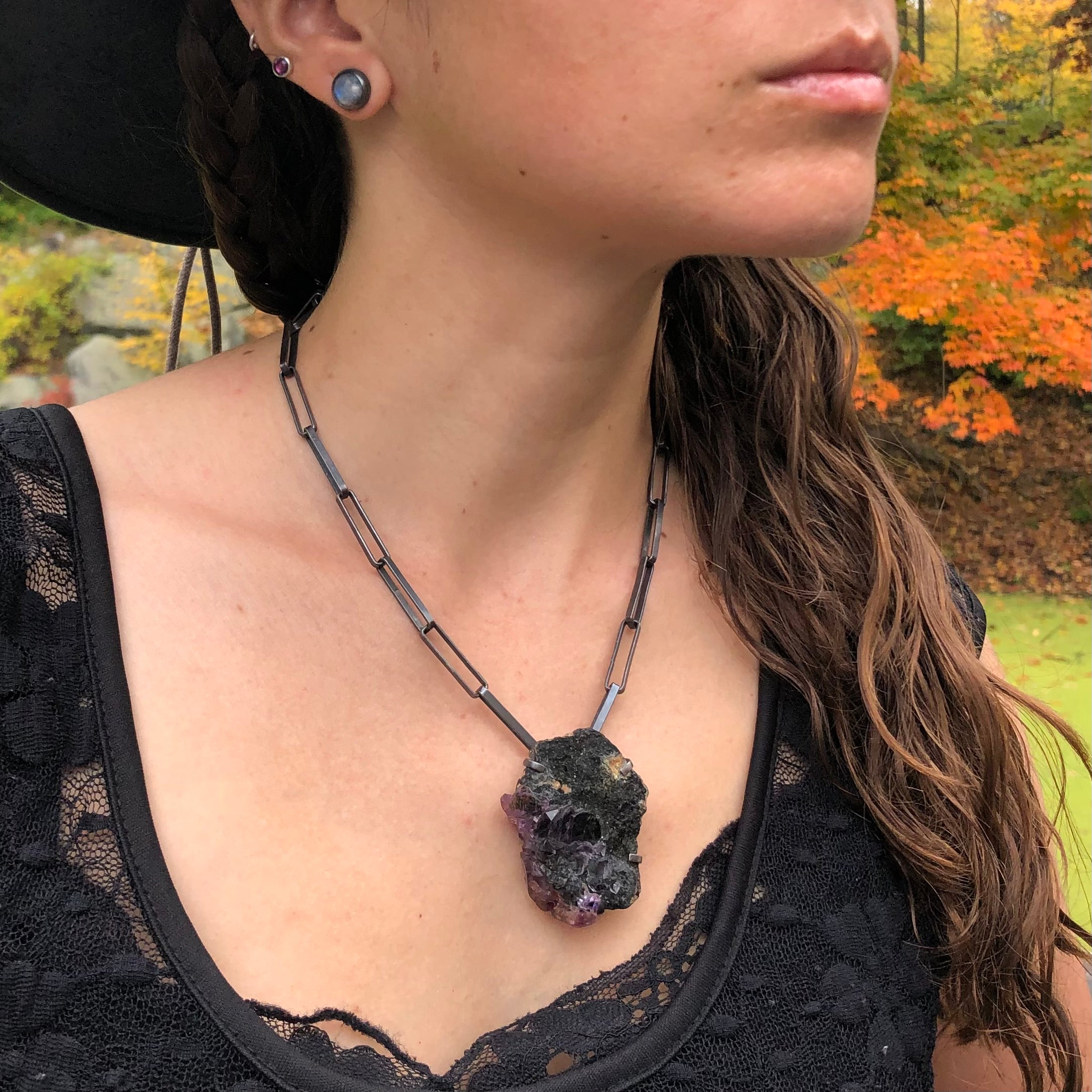 Rough Amethyst Magical Talisman Necklace. Handmade by Alex Lozier Jewelry. Season of the Witch collection.